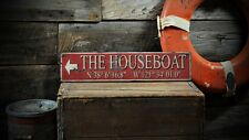 Custom Houseboat Latitude Longitude Sign - Rustic Hand Made Wooden ENS1000653