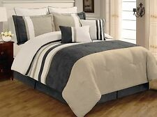 8 PC Grey, Beige and White Striped Microsuede Comforter Set Full and Queen Sizes