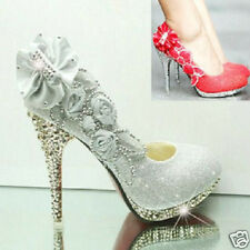 4 color Vogue lace Flowers Crystal High Heels Wedding Bridal dancing party Shoes