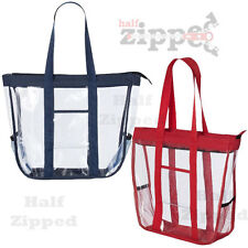 Valubag Black Accent Clear Zippered Tote Bag VB5002 Meets Stadium Standards