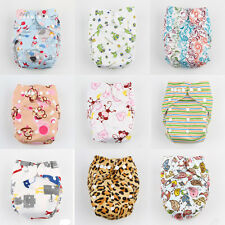 Baby Infant One Size Printed Cloth Diaper Reusable Nappy Covers Bamboo Insert uk