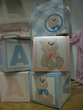 NEW BABY SHOWER BAUTIZO PARTY FAVOR DE REGALO CAJAS DE TORTA 2 rosa o azul