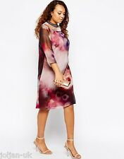 NEW LADIES LITTLE MISTRESS CURVY WATERCOLOUR FLORAL SHIFT DRESS SIZE 18 BNWOT