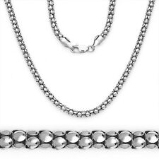 1.8mm Popcorn Italian Link Chain Necklace 14k White Gold 925 Sterling Silver