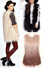 New Hairy Long Line Upside Down Fluffy Faux Fur Sleeveless Gilet Waistcoat Top