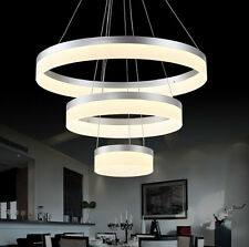 New Modern Acrylic Round Pendant Lamp Ring Ceiling Light Lighting LED Warm White