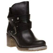 New Womens Fly London Black Lok Leather Boots Ankle Buckle Pull On