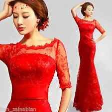 Sexy red shoulder lace dress maid of honor half sleeve Fishtail Evening dress171