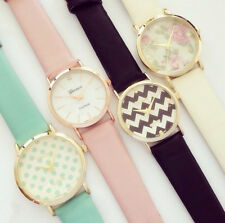 Fashion Trendy watches floral printed Geneva 4 styles unisex leather watches