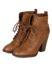 Breckelles Heather31 New Women Leatherette Oxford Lace Up Stack Chunky Heel Boot