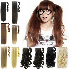 straight curly long thick pony tail Wrap Around clip in ponytail hair extensions