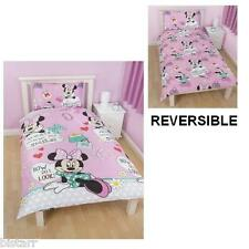 MINNIE MOUSE DUVET COVER & PILLOW CASE BED SET 'MAKEOVER' KIDS CARTOON DISNEY
