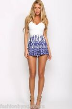 BNWT Angel Biba White & Blue Strappy Embroidered Playsuit Shortsuit size 6 8