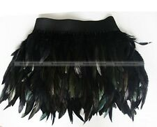 Black Feather Skirt Fancy Party Dress Cosplay Elastic Waist Performance Costume