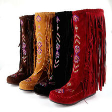 Ethnic Style Womens Chic Fringe Tassel Knee Height Boots Height Increasing Shoes