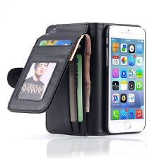 Fold Wallet Leather Case Picture Card Slot Triple Cover Purse For Apple Samsung