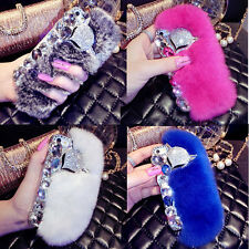 Luxury Bling Crystal Fox Rabbit Fur Plastic Case For Apple Iphone 6/6+/7/7+