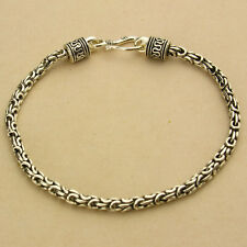 """3MM 925 STERLING SILVER EP INDONISIA BALI CHAIN OXIDIZED BRACELET 7"""", 7.5"""", 8"""""""