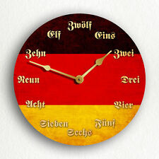 """Flag of Germany with German Language Numerals 6""""-10""""-12"""" Silent Wall Clock"""