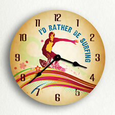 "I'd Rather Be Surfing Surfer & Surfboard 6""-10""-12"" Silent Wall Clock"