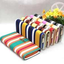 New Lady Women PU Leather Stripe Clutch Wallet Long Card Purse Handbag Purse
