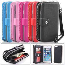 Zipper Purse Pouch Credit ID PU Leather Holder Pocket Case For iPhone 6 6S Plus