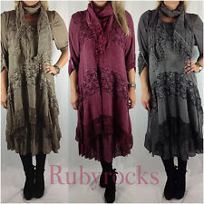 Ladies Quirky Lagenlook 3piece Mohair Wool Long Tunic Lace Scarf Dress Top