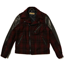 SCHOTT NYC PERFECTO BRAND P7419 2 TONE WOOL LEATHER PLAID BIKER JACKET