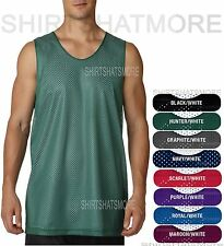 Mens Mesh Reversible Wicking Basketball Sports Tank Shirt Gym Jersey S-2XL 3XL