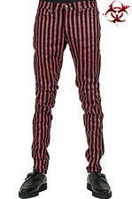 TRIPP EXPLOITED ROCK STRIPE GOTHIC MOTO RED JEANS SKINNY PUNK oi PANTS IS7374P