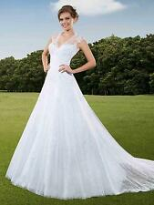 Exquisite A-line Lace Cap Sleeve Fantastic Workmanship Wedding Dress Custom Made