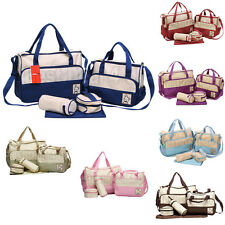 5pcs Baby Diaper Nappy Changing Bag Travel Set Shoulder Pouches And Mat Pad