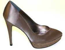 Women's Shoes Nina RINALDA Platform Dress Pump Heels SATIN Malinda Taupe Pewter