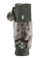 BRAND NEW WOMENS GRAY MUKLUK BOOTS, REAL LEATHER SUEDE -  ALL SIZES AVAILABLE