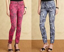 Tommy Hilfiger Skinny Jeans Womens Mid Rise Floral-Print Colored Stretch Denim