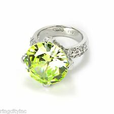 SALE Peridot CZ Ring in Rhodium FREE SHIPPING