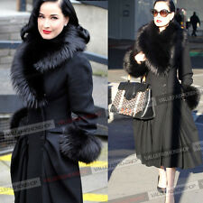 Women Winter Vintage Retro Faux Fox Fur 20% Wool Party Coat Overcoat Outwear 148