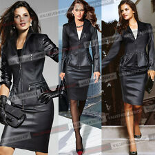 Women Synthetic Leather Zip Casual Jacket Blazer & Bodycon Pencil Skirt Suit 063