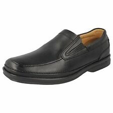 Mens Clarks Black Leather Slip On Formal Shoes H Fitting Style SCOPIC STEP