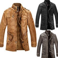 BIG SALE Vintage Men Cowboys Winter Trench Coat Leather Motorcycle Jackets Parka