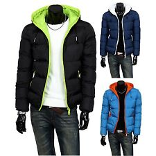 1X Fashion Men's Casual Thicken  fiber blended Zipper Hooded Winter color Coats