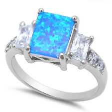 Radiant Cut Blue Fire Opal & White Cz .925 Sterling Silver Ring Sizes 5-10