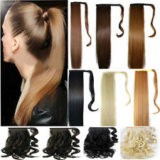 long Wrap Around clip in ponytail hair extensions real natural women pony tail