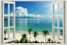 3D Window Decal WALL STICKER Home Decor Exotic Beach View Art Wallpaper Mural