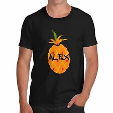 Men Cotton Novelty Fruit Theme Personalised Pineapple Print T-Shirt
