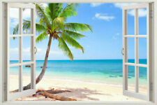 NEW ART 3D Window Exotic Beach View Art Mural Decal WALL STICKER Home Decor