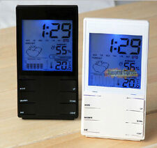 LED Light Calendar Humidity Thermometer Weather Station Snooze Alarm Stand Clock