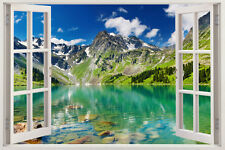 3D Windows Trees Lake Wall Paper Wall Print Decal wall Murals kids art Removable