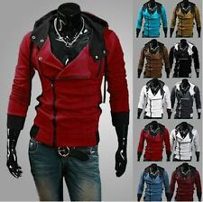 Fashion Mens Casual Designed Fit Slim Hooded Cardigan Coat Jacket Hoodies White