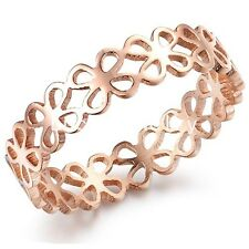 Fashion Hollow Flower Rose Gold Charming Stainless Steel Lady Ring Size 5 6 7 8
